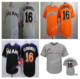 Wholesale Marlins Jose Fernandez Black Baseball Jerseys Hot Sale Men Baseball Wears High Quality Baseball Uniform White Black Orange Grey