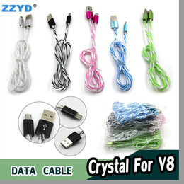 ZZYD 1M Transparent Crystal Micro USB Data Cable Charger Cables V8 USB Cable For Android Any Smart Cellphone