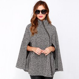 Wholesale-2016 European Style Women Outwear Coat Autumn Winter Fashion Lady Batwing Cape Poncho Windbreaker Loose Cloak Oversize Mantle