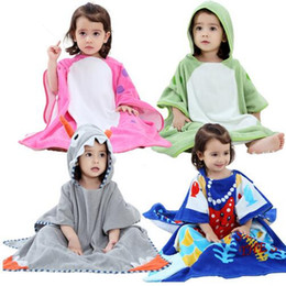 MICHLEY Girls Bathrobes Kids Hooded Cartoon Clothing Babies Colorful Bath Robe Boys Bathroom Cotton Pajamas Children's Towel