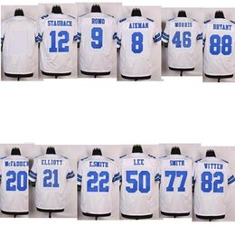 Wholesale Elite Football Stitched Cowboys Blank Ezekiel Elliott Dak Prescott WITTEN Smith McFadden MORRIS LEE White jerseys