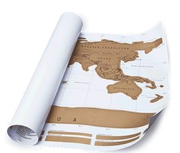 Wholesale Creative Gift Scratch World Travel Mape Decorative Poster Where Have You Been Geography Teaching Fun Toy Best Christmas gift