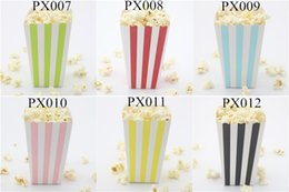 Free Shipping Event & Party Supplies eco craft paper Candy Box 120pcs(10packs MIX) Stripe Popcorn Box