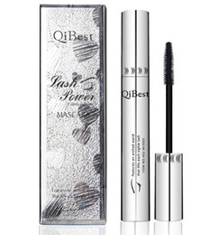 Wholesale QiBest Silver Waterproof Mascara Big Eye Top Quality Makeup Black Curling Lengthening Thick Cheap Exquisite Makeup with Box