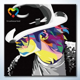 Wholesale Micheal Jackson Wall Art DIY Painting Baby Toys x40cm Educational Canvas Oil Painting Drawing Wall Art for Family Gift with Wooden Frame