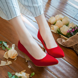 2016 Big size 31-43 hot sale sweet style pointed toes high heels slip-on wedding women solid sequins suede wedges dress shoes 7351-2