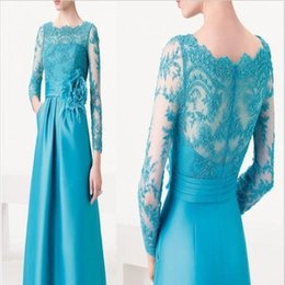 Wholesale Women Elegant Evening Dress New Lace Long Sleeve Boat Neck See Through Hollow Out With Flower Belt Party Dress