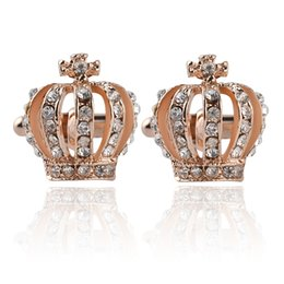 Christmas Gifts Top Grade 18K Gold Silver Crystal Crown Cuff links For Mens And Women Wedding Brand Cuff Buttons Gifts Jewelry 0903810-4