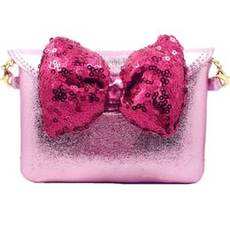 Wholesale Korean Purses Princess - Baby Girls Shining PU Bow Coin Purse Fashion Princess Chain Coin Bag Children Ladylike Korean Style New Bag Square Small Bag