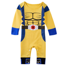 Baby Boys X-man Wolverine Logan Cosutume Long Sleeve Bodysuits Rompers Jumpsuit