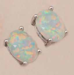 White Fire Opal Silver Stamped Wholesale & Retail Silver Stud Earrings for women Fashionl Jewelry Opal Jewelry