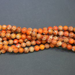 Jasper Natural Orange Stone Beads Gemstone Emperor Imperial Jasper Beads Round Smooth Beaded Wholesale Price Women Necklace Making Jewelry