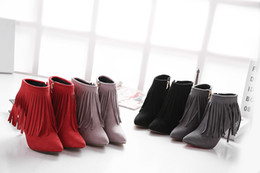 2015 new winter Europe peppers tip side zipper with a fine high-heeled boots boots wholesale sexy tassels