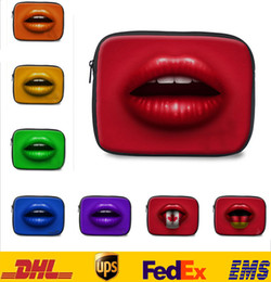 Wholesale DHL High Quality Lips Wrap Laptop Ipad Bags Tablet Case Ipad Notebook Soft Protect Zipper Bag Eyes Big Mouth Tougue Pouch Cover Case FS S02