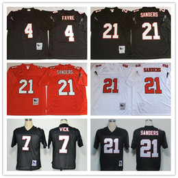 Wholesale Throwback Atlanta Brett Favre Michael Vick Deion Sanders White Black Home Away Stitched Football Jerseys