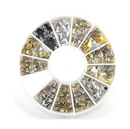 12 Style 3D Design Nail Art Tips Rhinestone & Decoration Metallic Studs Gold Silver Stud Wheel Tool For Beauty & Health