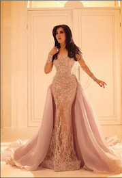 2016 Inspired Long Sleeved Lace Prom Dresses With High Neck Party Cheap Evening Dress Tulle Zuhair Murad