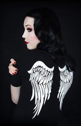 so hot!2016 summer new angel wings T-shirt   European and American version of 3D printing hedging short-sleeved T-shirt shirt female 8043s-l