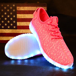 Glow Led Luminous USB Charging Fashion Casual Shoes 350 Boost Woman For Couples Girls Shine Lovers Light Unisex Students Board Flyline Shoe