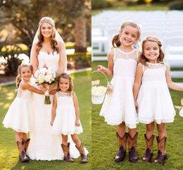 Wholesale 2017 Flower Girls Dresses For Weddings Sheer Jewel Neck Sleeveless Cute Lace Knee Length Princess Style Custom Made Flower Girls Dresses