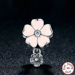 Poetic Blooms Floral Dangle Charm with Soft Pink Enamel & Clear CZ Genuine 925 Sterling Silver Beads for DIY Pandora Style Bracelets S278