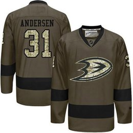 Wholesale Anaheim Ducks Mens Jerseys Frederik Andersen Army Green Salute to Service Ice Hockey Jersey Stitched Name