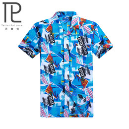 Wholesale-2016 Brand Summer Hawaiian Men Hawaii Beach Shirt,Coconut trees printing Men Short Sleeve Floral Loose Casual Shirts Size L~4XL