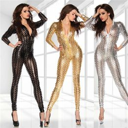 Wholesale Catsuits Hot Sexy - Hot Sale Bodysuit Sexy wetlook Punching Faux Leather Gothic Clubwear Fetish PUNK Bustier Catsuits Gold   Black   Silver