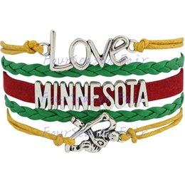 Custom-Infinity Love National Hockey League Minnesota Wild Team Bracelet Ice Hockey Player Fans Adjustable Bracelet Bangles-Drop Shipping