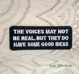 The voices may not be real,BUT they do have some good ideas Iron on Embroidered patch Gift shirt bag trousers coat Vest Individuality