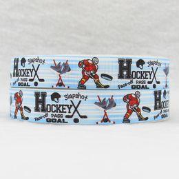 ribbon 7 8inch 22mm 160912030 hockey printed grosgrain ribbon webbing 50yards roll for hair tie free shipping