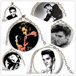 Wholesale 6 Style Silver Elvis Presley Picture Pendant Choker Necklace The King of Rock Art Jewelry Gift Women Statement Jewelry