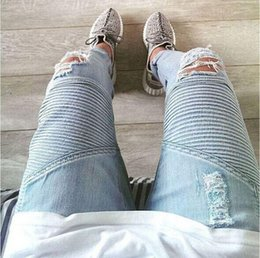 new men clothes Wholesale blue black destroyed mens slim denim straight biker skinny jeans Casual Long men ripped jeans free shipping