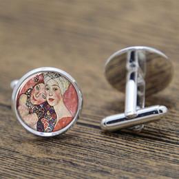 Wholesale 10pairs Klimt cufflinks two beautiful women Artist cufflink Print Photo Symbolism Art cufflink