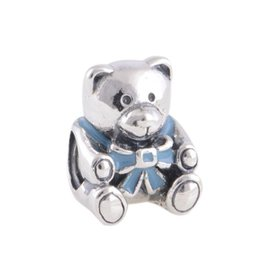 crown enamel silver teddy bear Charm 925 ale sterling silver charms loose beads diy jewelry wholesale for thread bracelet DC239