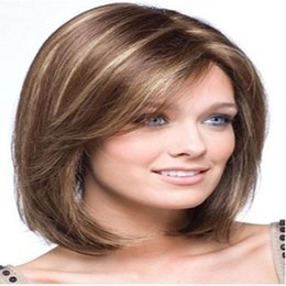 Capless Classy Stylish Long Straight Brown with Strips Woman's Synthetic Hair Wigs Wig Suit for Daily Life