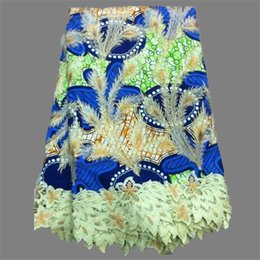 Wholesale Hot selling apparel material nice print design African real wax lace fabric for lady dress DLF4 yards