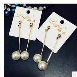 Wholesale-Latest Women and girls long tassel Pearl Ball Drop ear stud Dangle chandelier Earrings Party Jewelry