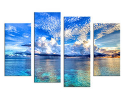 Wholesale 4PCS beautiful ocean sunset landscape Wall painting print on canvas for home decor ideas paints on wall pictures art