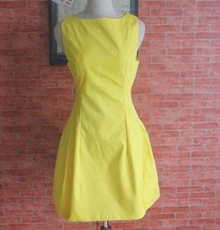 Digm 2016 spring summer autumn fashion sleeveless vest dress involucres one-piece dress bright color slim princess yellow dress