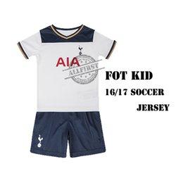 Wholesale 16 Hotspurs Kids Soccer Uniforms Kit KANE Cheap Home Youth Soccer Jersey SON JANSSEN LAMELA ERIKSEN Football Kit