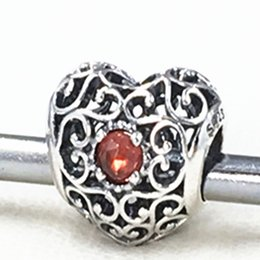 2015 New 925 Sterling Silver January Signature Heart Charm Bead with Garnet Fits European Jewelry Bracelets & Necklace