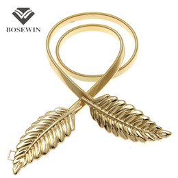 Wholesale 2016 Hot T stage Belts For Women Golden Belt Female Leaf Belt Fahion Waist elastic Women s Belts Evening Dress Cummerbund