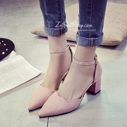 women high heels shoes In the spring of 2016 New Europe pointed shoes suede rough documentary shallow mouth high-heeled women shoe buckle sh