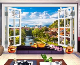 Wholesale 3d wallpaper custom photo non woven mural window European town scenery room decoration painting d wall murals wallpaper for walls d