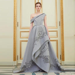 Sexy Gray Off One Shoulder Evening Gowns 2017 A Line Ruched Embroidery Prom Dresses Satin Floor Length Formal Party Dresses Custom Made