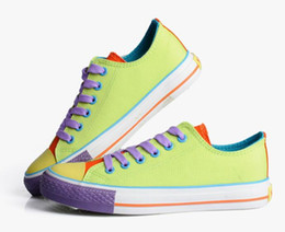 Wholesale Hot selling color block decoration high lacing canvas shoes low multicolour sweet candy color casual shoes size