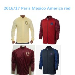 Wholesale top thai quality Mexico America red yellow Paris soccer jacket LONG sleeve Tracksuit football shirt