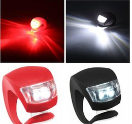 Silicone Bike Bicycle Cycling Head Front Rear Wheel LED Flash Bicycle Light Lamp black red include the battery Free Shipping
