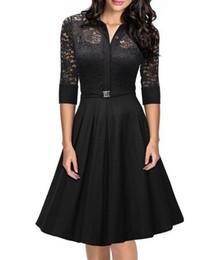 Элегантные женские платья линии кружева обшиты квадратный шеи 3/4 рукав сплошной цвет S-2XL филенчатые плиссированные платья от Поставщики подкладке панель